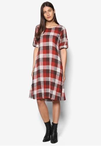 格紋長袖連身裙,esprit分店 服飾, 洋裝