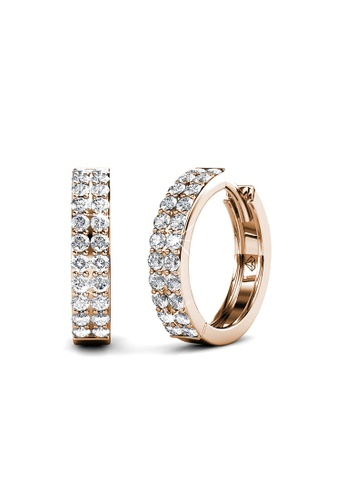 Her Jewellery gold Glamour Ring Earrings (Rose Gold) - Made with premium grade crystals from Austria 12C3EACF93AD91GS_1