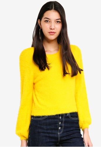 ONLY yellow Lover Crop Pullover 46D30AA52DD6C1GS_1
