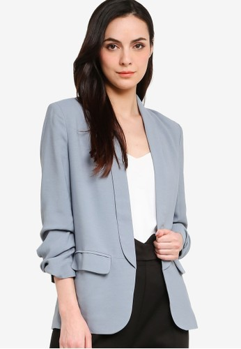 ZALORA WORK blue Ruched Sleeves Blazer C267DAA9811F65GS_1