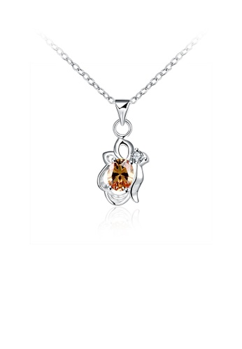 Glamorousky gold Fashion and Elegant Art Pendant with Champagne Cubic Zircon and Necklace D4848ACD6DF50FGS_1