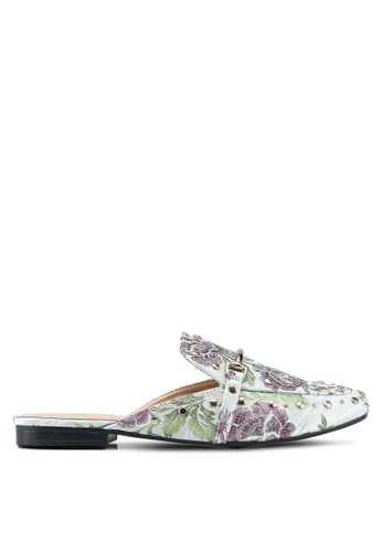 Nose 灰色 花卉鉚釘穆勒鞋 A9FA1SHA398486GS_1