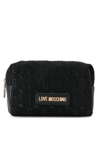 Love Moschino black and white Textured Zip Around Pouch 63C06AC4869D14GS_1