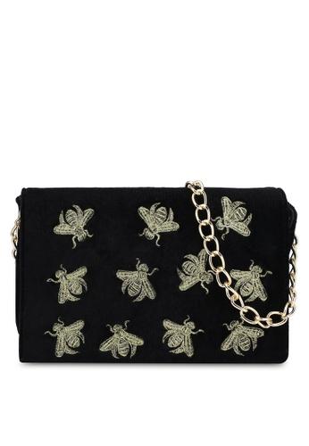 ZALORA black Mini Bee Velvet Sling Bag E8B1DZZ91401FFGS_1