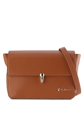PLAYBOY BUNNY brown Playboy Bunny Sling Bag PL604AC74PGJMY_1