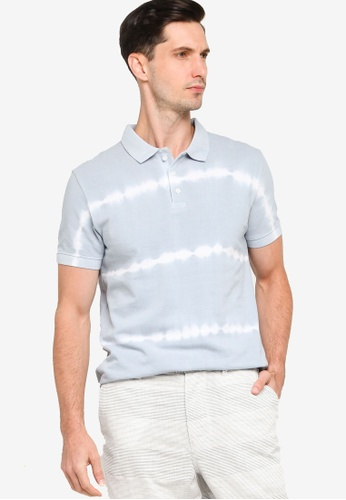 French Connection blue Batik Dye Pique Polo Shirt 40EF7AA97C88EBGS_1