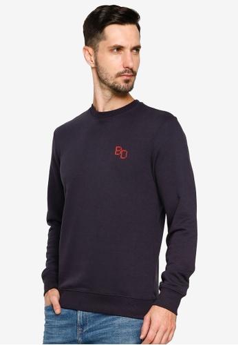BLEND navy Mini Embroidery Sweatshirt A0856AAE9CA307GS_1