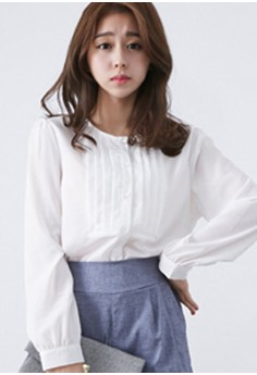 [EYECREAM] Long Sleeve Chiffon Blouse with Pleated Front Detail