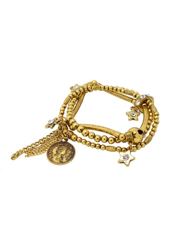 Jaysa Collection gold Ancient Coin Statement Bracelet With Crystals JA875AC0GVEQSG_1