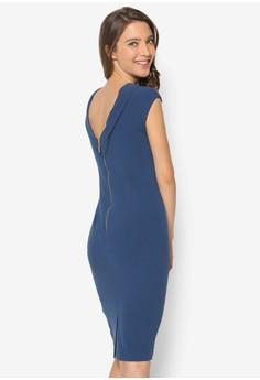 Drape Shoulder Cap Sleeve Dress