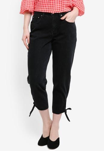 LOST INK black Petite Tie Hem Mom Jeans B64C8AAFD396CFGS_1