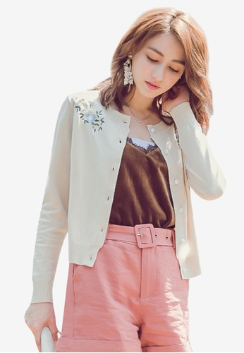 YOCO beige Buttoned Up Floral Cardigan DA3D4AA0ABF719GS_1