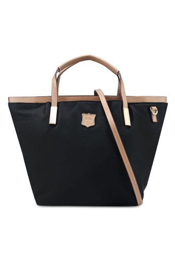 NUVEAU black PU-Trimmed Nylon Convertible Top Handle Bag A0416AC10C0CE5GS_1
