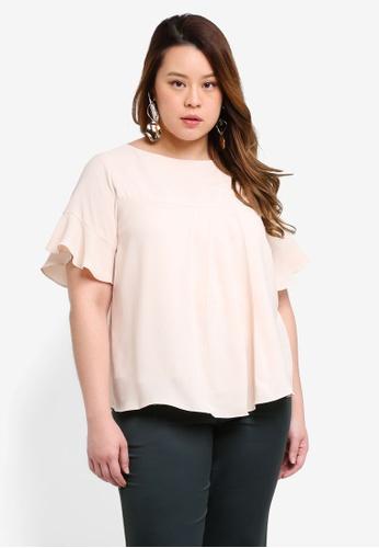 Ex'otico beige Plus Size Short Sleeve Overlap Blouse EDDD2AA14FC69BGS_1