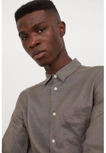 H&M beige Regular Fit Linen shirt 07A2BAA5DDDB0FGS_1
