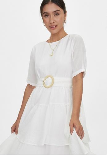 Pomelo white Maxi Layered Ruffle Dress - White E43FCAA4E6576CGS_1