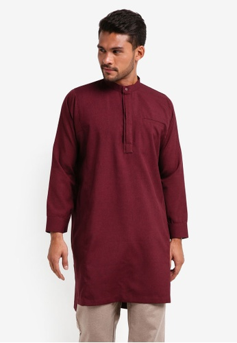 Lubna red Double Placket Kurta B3D9CAAE58DB79GS_1
