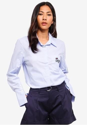 Hopeshow blue Striped Long Sleeve Button Shirt 62AFDAAEF30A5EGS_1