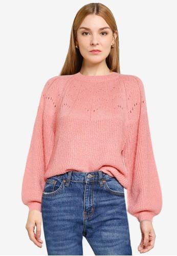 Mango pink Openwork Knit Sweater F1ABFAA74A89C0GS_1
