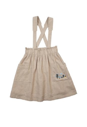 Vauva yellow Vauva Girls Fantasy Forest Overall Dress - Khaki 4997CKAB5BF700GS_1