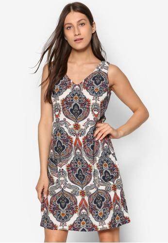 Petite 佩斯利印esprit 寢具花直筒洋裝, 韓系時尚, 梳妝