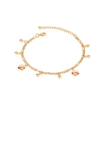 Glamorousky 銀色 簡約創意鍍玫瑰金幾何圓形笑臉圓珠316L鋼腳鏈 F45EBAC869E711GS_1