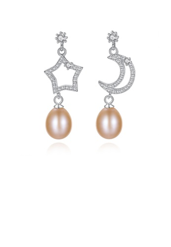 Glamorousky white 925 Sterling Silver Fashion and Elegant Star Moon Pink Freshwater Pearl Earrings with Cubic Zirconia B3D47AC5B80038GS_1