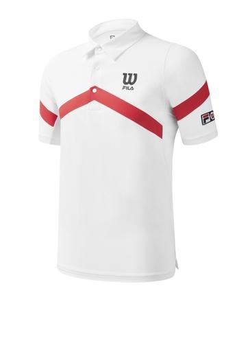FILA white FILA x Wilson Logo Stripe Polo Shirt 36B30AADB5C41DGS_1
