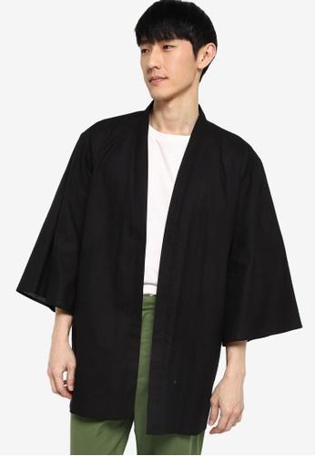 ZALORA BASICS black Linen Kimono Cardigan 96731AACA77A8DGS_1