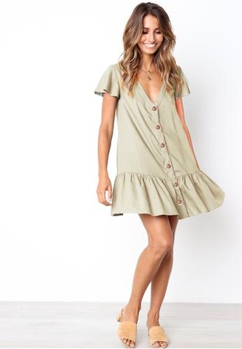 9a52ac199ffe Buy Seoul in Love Petrina Dress in Khaki Online on ZALORA Singapore