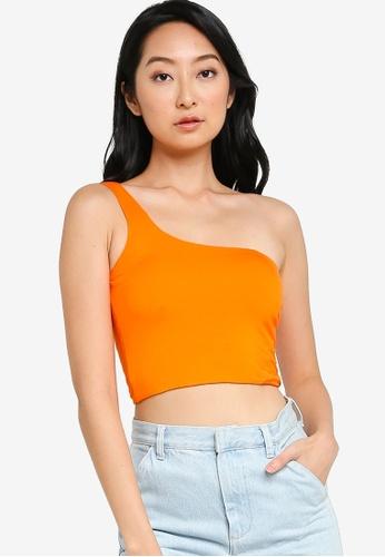 ZALORA BASICS orange One Shoulder Top 52BCCAAEAFC048GS_1