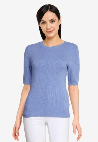Vero Moda 藍色 Karis 2/4 Pointelle 上衣 E0F3EAA1C0FCE2GS_1