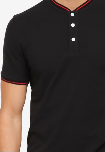 Jual ZALORA STAND COLLAR POLO WITH TIPPING Original