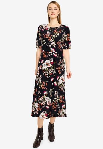 Brave Soul black Half Sleeves Print Midi Dress F00A5AADBC7542GS_1
