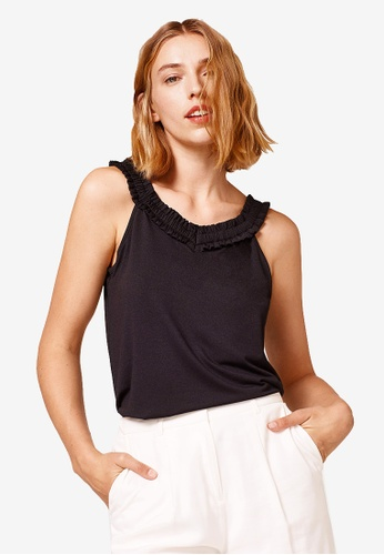 ESPRIT black Stretch Jersey Top With Frilly Trim 4EC54AAEFEE98FGS_1