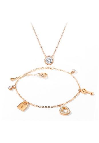 YOUNIQ YOUNIQ 18K Rosegold CZ DOT Necklace & TIFFY Bracelet Set 83090AC2B9EE6BGS_1