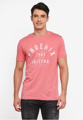 Burton Menswear London 粉紅色 混色圖案印花T恤 EB03DAA09FFBB2GS_1