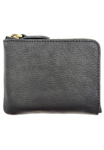 LUXORA black The Ninja Co. Top Grain Leather Billfold Zip Wallet Card Holder Purse Black 40797AC6D8BA72GS_1