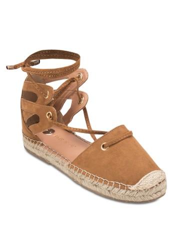 側鏤空繫帶麻跟鞋, 女鞋,zalora 心得 ptt 涼鞋