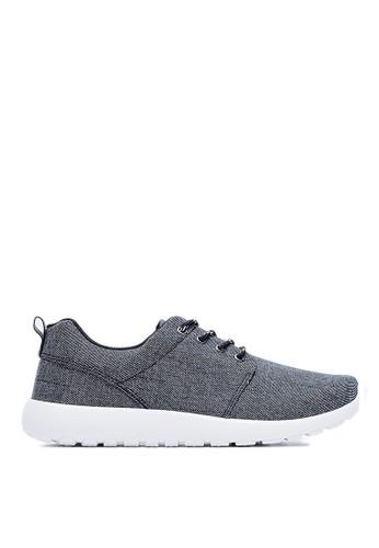 MIT。輕量。水洗刷紋牛仔布。簡約運動鞋-09441-esprit outlet hk黑色, 鞋, 休閒鞋