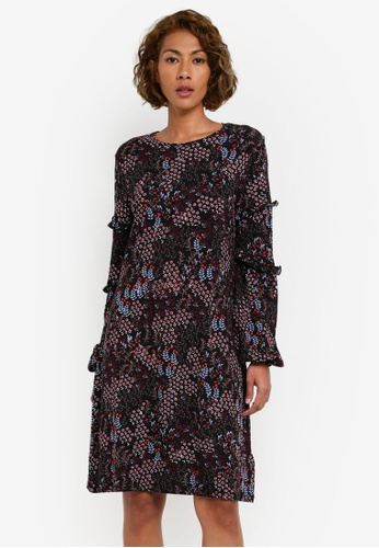 Dorothy Perkins black and multi Printed Swing Dress DO816AA0S099MY_1