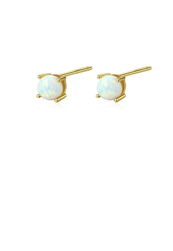 Glamorousky white 925 Sterling Silver Plated Gold Simple and Delicate Geometric Round White Imitation Opal Stud Earrings 87A3BACEDDCF42GS_1