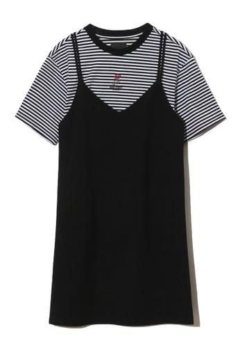 MUSIUM DIV black Rose emboidered pinafore dress 51B05AA7F4153CGS_1