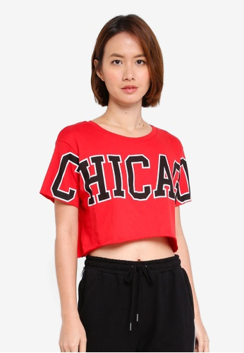 Supre red Printed Super Crop Tee FE481AA319692AGS_1
