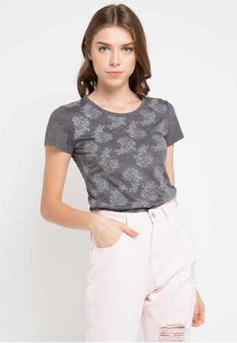 MEIJI-JOY grey Print Flower Red short sleeve Tshirt ME642AA0VRJFID_1