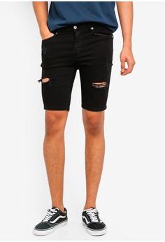 75497d6388 Topman black Black Finch Rip Slim Shorts 795D2AA8F1825FGS_1