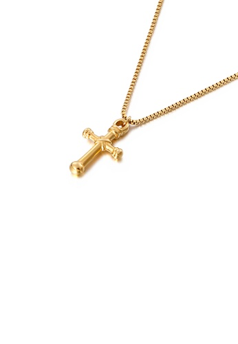 Glamorousky silver Simple and Classic Plated Gold Cross 316L Stainless Steel Pendant with Necklace 2B918AC309D3C4GS_1