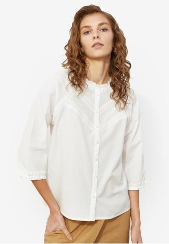 Trendyol white Tie Detail Frill Collar Shirt 72A32AA3E61DCEGS_1
