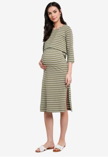 Mama.licious green Maternity Otea June Jersey Midi Dress CCC89AA6A0A5E6GS_1