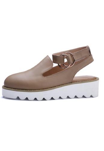 Sunnydaysweety beige Buckle Heavy-bottomed Leather Boat Shoes UA030111BE SU443SH13LZQHK_1